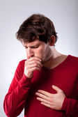 Ailing man suffering from pneumonia — Stock Photo