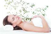 Woman enjoying her time at spa — Foto de Stock