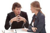 Relaxed office conversation — Stockfoto