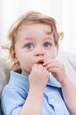 Cute littel boy indoors — Stock Photo