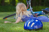 After fall of a bike — Stock Photo