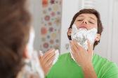 Man with shaving cream — Stock Photo
