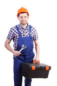 Repairman with toolbox and wrench — Stock Photo