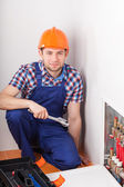 Plumber during valves reparation — Stock Photo
