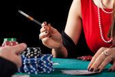 Smoking gambler closeup — Stock Photo