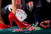 Royal flush in shoe — Stock Photo