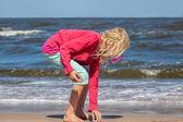 Girl collecting seashells  — Stock Photo