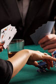 Chips and cards — Stock Photo