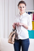Woman ready to go out — Stock Photo