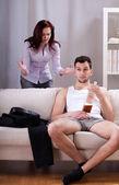 Man ignoring his girlfriend's words — Stock Photo