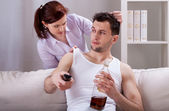 Upset woman and her partner — Stock Photo
