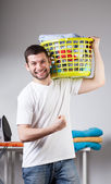 Man just has done his laundry — Fotografia Stock
