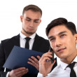 Business partner consulting by phone — Stock Photo #45117855