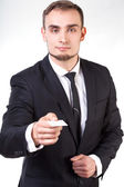 Businessman giving business card — Stock Photo