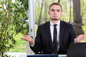 Helpless businessman — Stock Photo