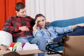 Tired couple because of moving house — Stock Photo