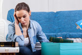 Tired woman during moving house — Stock Photo