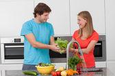 Vegetables washing — Stock Photo