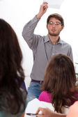 Angry teacher during classes — Stock Photo