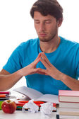 Student meditating before task — Stock Photo