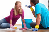 Partners cleaning together — Stock Photo