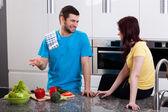 Couple preparing food — Stock Photo