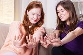 Girls painting nails — Foto de Stock