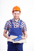 Portrait of a young male tiler — Stockfoto