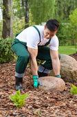石を持ち上げる庭師 — ストック写真