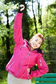 Mongolian woman during morning jogging — Stock Photo