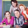 Students and teacher during chemistry — Stock Photo