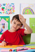 Young boy in the art lesson — Stock Photo