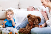 Mother's free time with children — Stock Photo