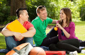 Friends in park playing hookey — Stock Photo