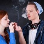 Teenagers smoking marijuana joint  — Stock Photo #47924969