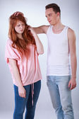 Boy teasing her female colleague — Stock Photo