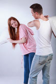 Having fun from pillow fight — Stok fotoğraf