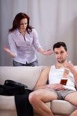 Husband ignoring his wife — Stock Photo