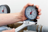 Repair of a pressure gauge — Stock Photo