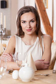 Woman waiting for man in restaurant — Foto Stock