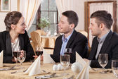 Business meeting in a restaurant — Stock Photo