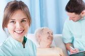 Lady lying on hospital bed — Stock Photo
