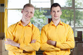 Co-workers in a factory — Stock Photo