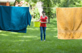 Drying laundry in garden — Stock Photo