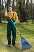 Man raking leaves — Stock Photo
