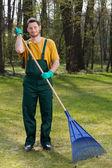 Man raking leaves — Stock Photo