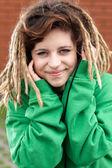 Rasta girl smiling — Stock Photo