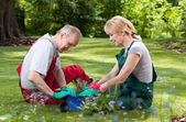 Couple spends his free time working in the garden — Fotografia Stock