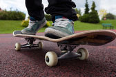 Person rides on skateboard — Stock Photo