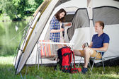 Morning in front of a tent — Stock Photo